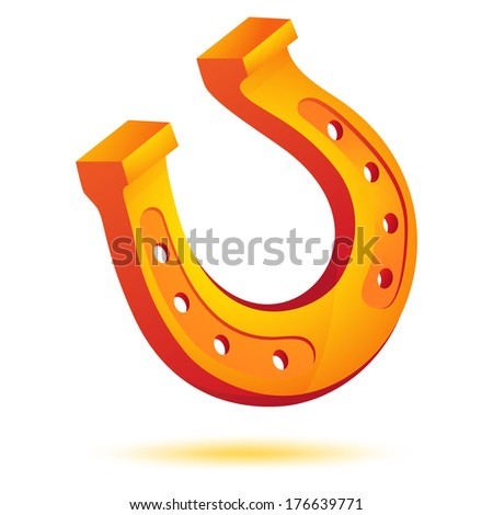 Lucky gold, golden horseshoe icon isolated on white. Vector