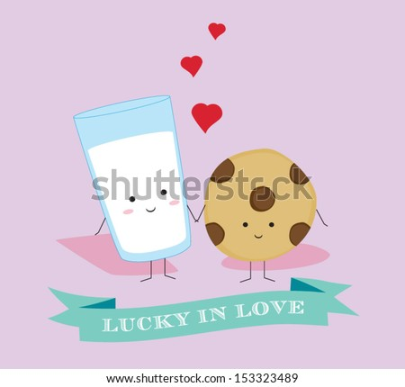 Lucky in Love Classic Milk and Cookies Couple - stock vector