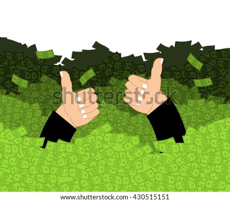 Lucky in ocean of money. Cash Waves swept person. Wealth. Luxury and wealth. Thumb up- well, fine. Joy businessman. Sea dollars. Cash flow