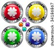 Lucky or St. Patrick's four leaf clover icon on round colorful vector buttons suitable for use on websites, in print materials or in advertisements.  Set include red, yellow, green, and blue versions. - stock vector