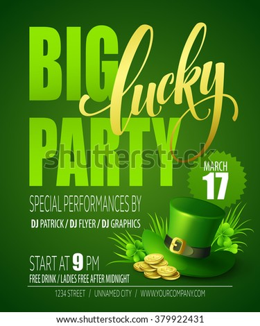 Lucky Party Poster. St. Patrick's Day, St. Patrick's Day poster, St. Patrick's Day vector, St. Patrick's Day background, St. Patrick's Day flyer, St. Patrick's Day card, St. Patrick's Day lettering - stock vector