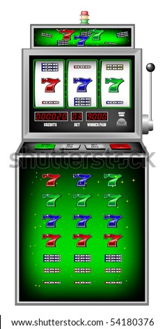 lucky seven slot machine vector illustration - stock vector