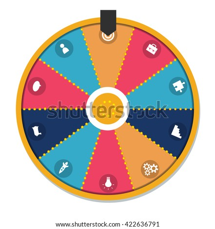 Lucky wheel, close up, vector illustration. Isolated on white background. With business icons set.