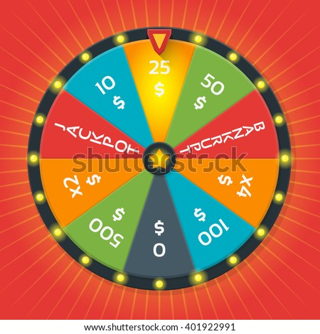 Lucky wheel vector template. Color lucky wheel with money amount. Lucky game, fortune wheel, winner game, money casino illustration - stock vector