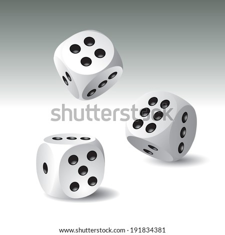 Lucky white dices. Vector illustration - stock vector