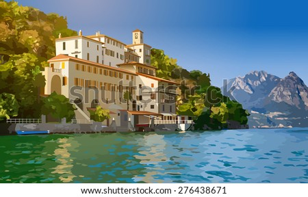 Lugano lake in Switzerland. View on shore with buildings. - stock vector