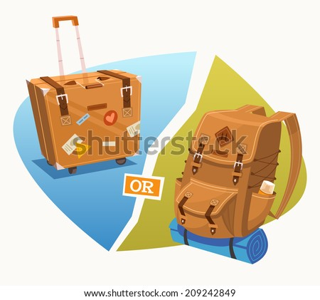 Luggage. Backpack. Vector illustration. - stock vector