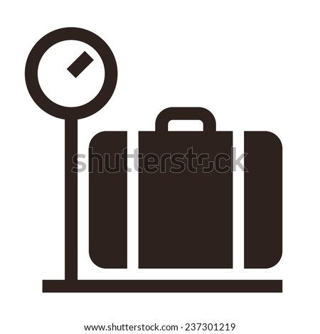 Luggage on weigh scales icon isolated on white background