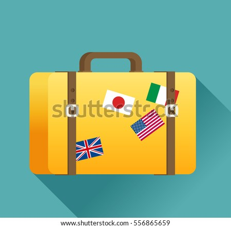 Luggage symbol. Vector illustration of flat color icon with long shadow.