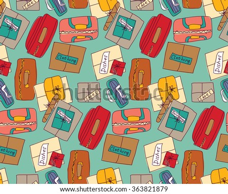 Luggage things boxes suitcase cargo color seamless pattern.  Color vector illustration. EPS8