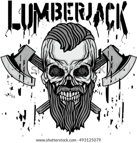 lumberjack coat of arms with skull, grunge.vintage design t-shirts