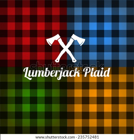 Lumberjack plaid pattern set vector - stock vector