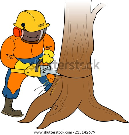 Lumberjack sawing wood by chainsaw - stock vector