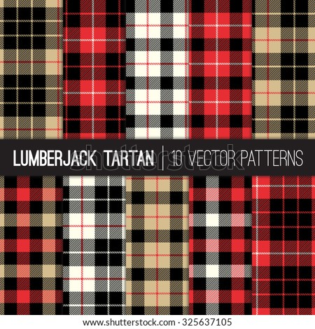 Lumberjack Tartan and Buffalo Check Plaid Patterns in Red, Black, White and Khaki. Trendy Hipster Style Backgrounds. Vector EPS File Pattern Swatches made with Global Colors. - stock vector