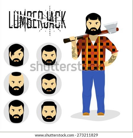 lumberjack with ax and set of lumberjack's face and head. beard, mustache, hairstyle. vector illlustration.