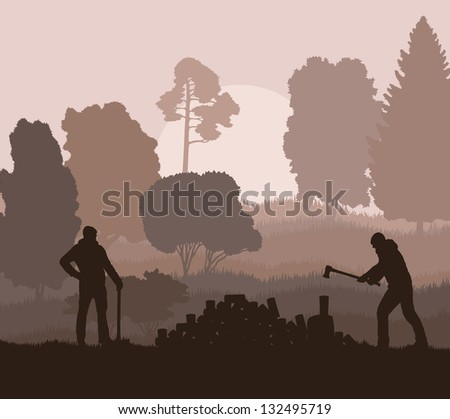 Lumberjack with axe vector background in nature - stock vector