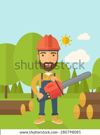Lumberjack with hard hat as protection cuts a tree by chainsaw under the heat of the sun. A Contemporary style with pastel palette, soft blue tinted background with desaturated clouds. Vector flat - stock vector