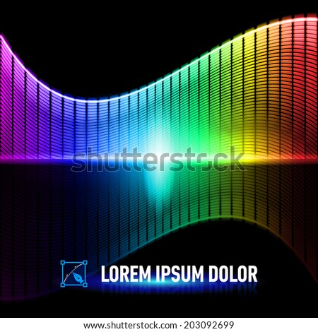 Luminous background with colorful digital music equalizer - stock vector