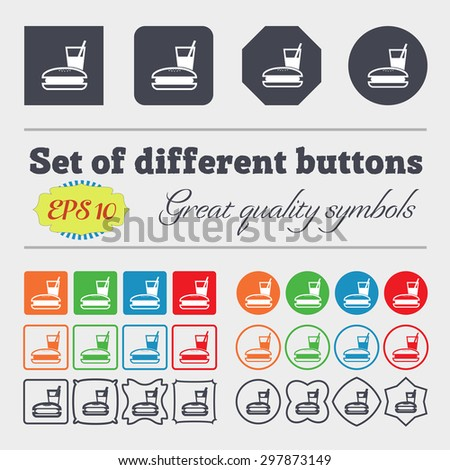 lunch box icon sign. Big set of colorful, diverse, high-quality buttons. Vector illustration - stock vector