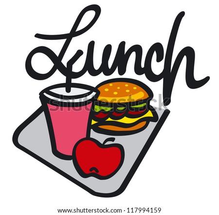 lunch handwriting - stock vector