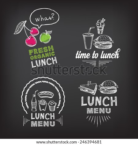 Lunch menu, restaurant design. - stock vector