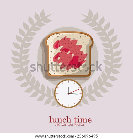 lunch time desing over, ligth gray backgrund, vector illustration. - stock vector