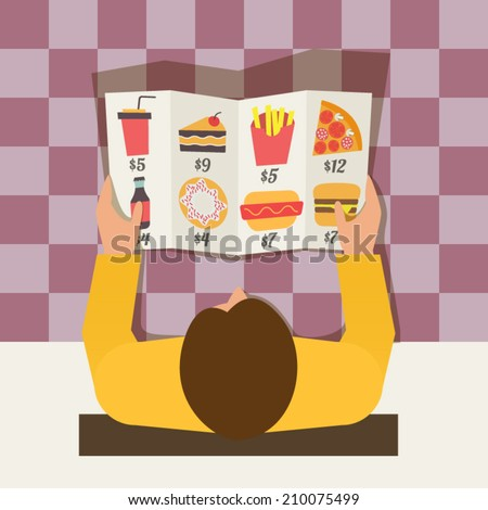 Lunch time. Man ordering meal in fast food cafe. Menu and vector icons in flat design - stock vector