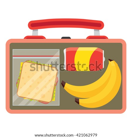 Lunch vector illustration. Lunch break concept. Lunch time design. Lunch box, sandwich, soda and an banana. Lunch icon in flat style. Lunch school. Lunch kids image. - stock vector