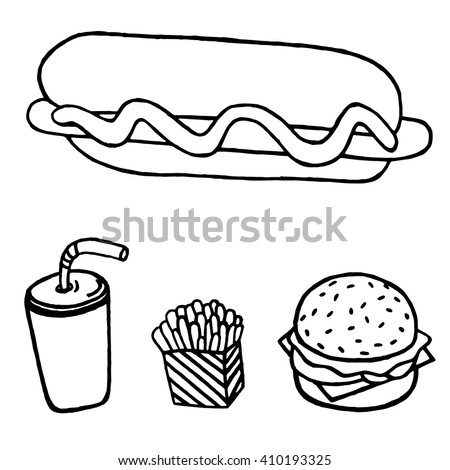 Lunch with French fries, hot dog, hamburger and soda . Fast food. Vector Illustration. Ideal for fabric design, papers, coloring pages. Fast food set. Fast food menu. Fast food service. Fast food art. - stock vector