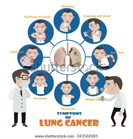 Lung cancer symptoms Sick man Info Graphic.vector illustration - stock vector