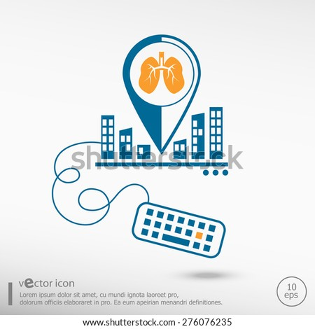 Lung icon and keyboard. Line icons for application development, creative process. - stock vector