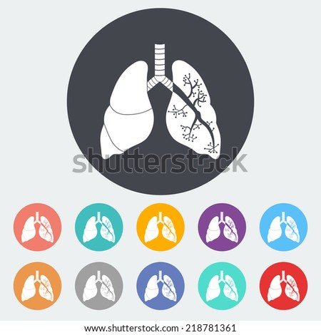 Lungs in Black and White. Single flat icon on the circle. Vector illustration. - stock vector