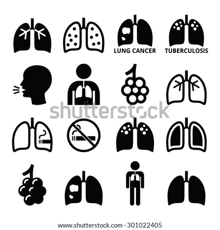 Lungs, lung disease icons set - tuberculosis, cancer - stock vector