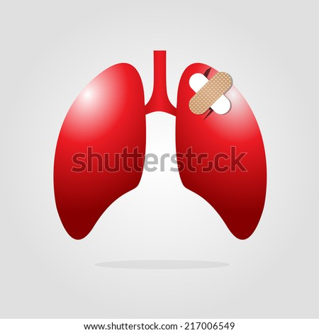 lungs with plaster,vector illustration