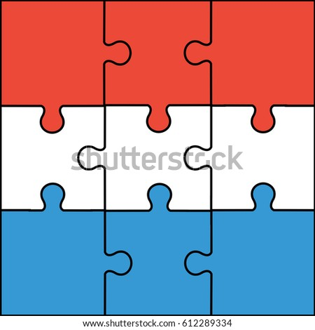 Luxembourg Flag Jigsaw Puzzle Pieces With Blue Red White Colors