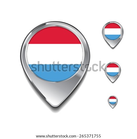Luxembourg flag map pointer. 3d Map Pointer with flag glossy button style on gray background - stock vector
