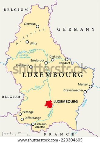 Luxembourg Political Map with capital Luxembourg, national borders, most important cities, rivers and lake. English labeling and scaling. Illustration. - stock vector