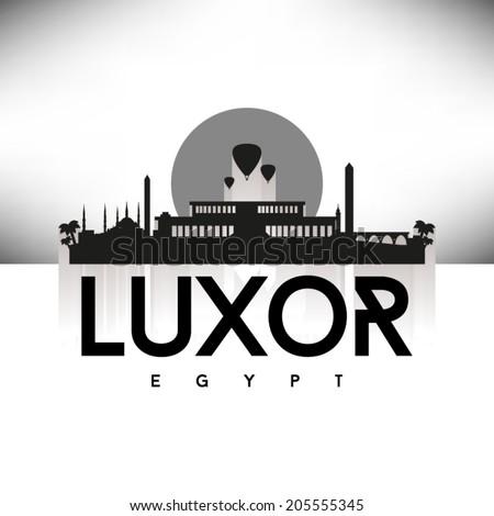 Luxor Egypt black skyline silhouette design, vector illustration. - stock vector