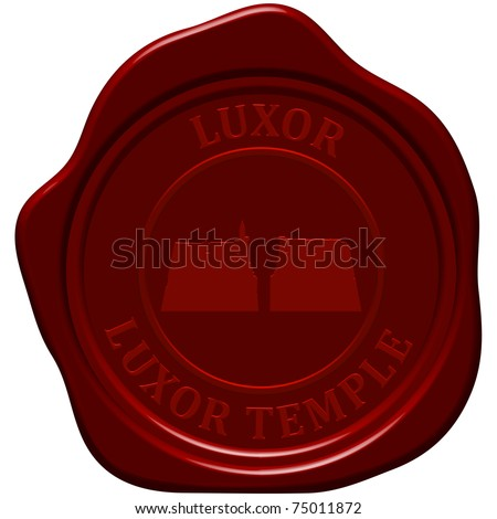 Luxor temple. Sealing wax stamp for design use. - stock vector