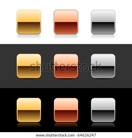 Luxory metal quadrate sign web 2.0 buttons with shadow and reflection on white, gray, and black