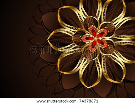 luxurious, abstract, golden flower on a dark chocolate - a brown background