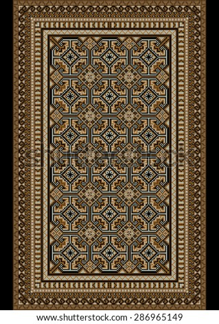 luxurious bright old oriental rug with beige and brown shades - stock vector