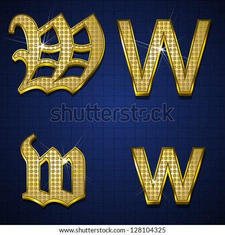Luxurious characters designed with gold diamonds - stock vector