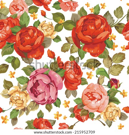 Luxurious color peony seamless pattern. Elegance background, vector illustration - stock vector