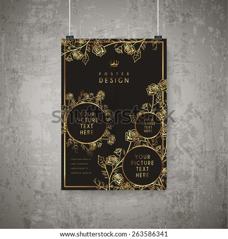 luxurious floral poster template design in golden and black - stock vector