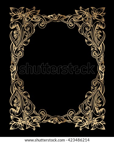 Luxurious Gold Vintage Art Nouveau Frame Stock Vector HD (Royalty ...