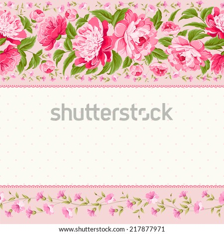 Luxurious invitation card of color peony flowers. Vector illustration. - stock vector