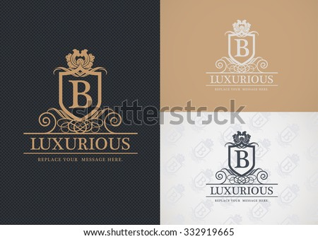 Luxurious logo design, Real estate, Hotel, Restaurant, Royalty, Boutique, Business sign, - stock vector