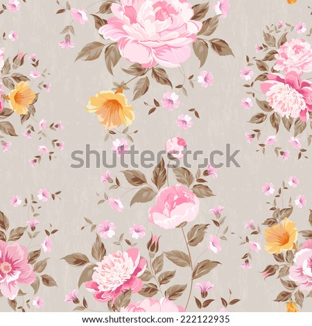 Luxurious peony wallapaper in vintage style. Vector illustration. - stock vector