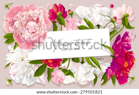 Luxurious pink, red and white peony flower and leaves greeting card with a paper label - stock vector